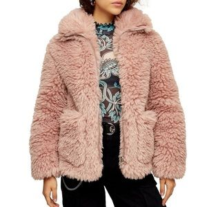 NWT Topshop Faux Fur Borg Jacket